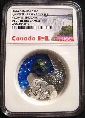 2016 Canada $20 THE UNIVERSE Glow In The Dark NGC PF70 UC ER Early Releases ~~