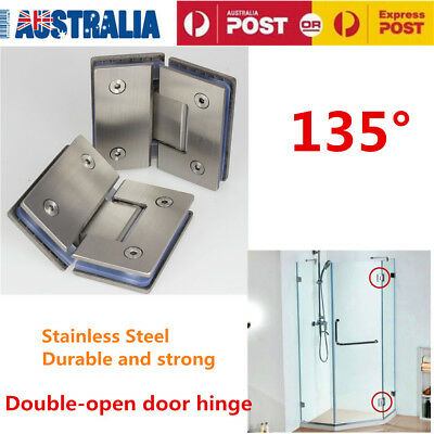 Shower Enclosures 135° Frameless Shower Screen Door Glass to Glass Hinge Clamp