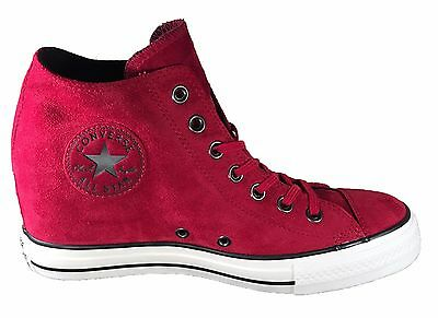 Converse Chuck Taylor All Star Lux Wedge Mid Women\u0027s Shoes Red Dahlia Suede