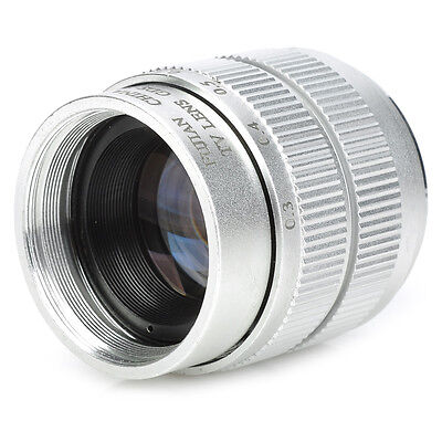 Silver 35mm f/1.7 Aluminum alloy + ABS CCTV Lens & Macro Rings Adapter Ring Set