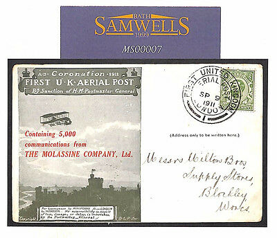 MS7 1911 GB FIRST UK AIR ADVERT FFC FDC CARD *Molassine Company* V>SCARCE Item