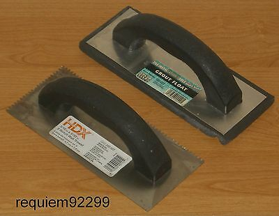 """LOT=2~HDX 3/16"""" x 5/32"""" V NOTCH WALL TROWEL~TILE INSTALLATION TOOLS GROUT FLOAT"""