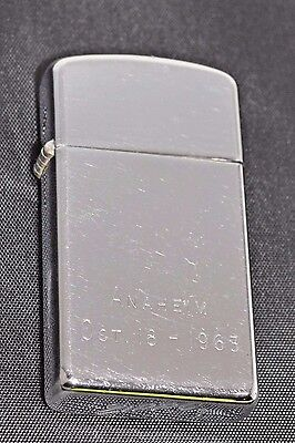 """Vintage ZIPPO Engraved """"Anaheim Oct 18 - 1963 CIGARETTE LIGHTER Made in USA"""