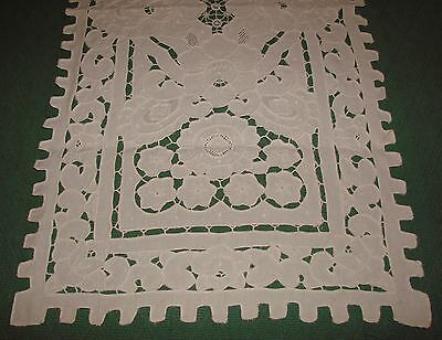 Fancy Antique Madeira Cutwork, Embroidered Linen Table Runner, Reticella Lace