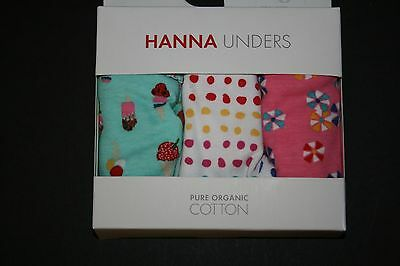 New Hanna Andersson Girls Hipster Unders 3 Pack Ice Cream  Underwear S 3-6 year