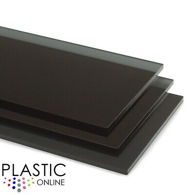 Dark Smoked Black Tint Colour Perspex Acrylic Sheet Plastic Panel Cut to Size