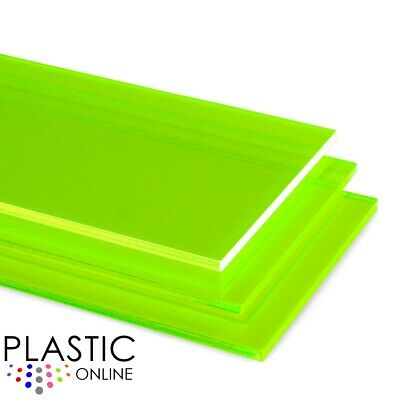 Acid Green Fluorescent Perspex Acrylic Sheet Colour Plastic Panel Cut to Size