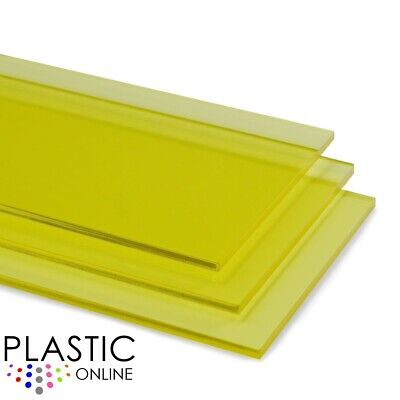 Yellow Transparent Colour Perspex Acrylic Sheet Plastic Panel Cut to Size