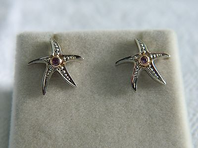 Clogau Silver & 9ct Welsh Gold Starfish Amethyst Stud Earrings RRP £79.00