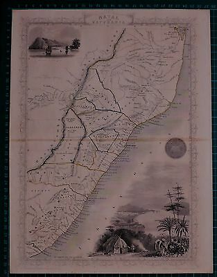 c1850 ANTIQUE MAP SOUTH AFRICA NATAL KAFFRARIA RAPKIN & TALLIS