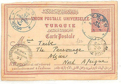 PP25 1916 TURKEY Stationery Postcard Super PERA Blue CDS to Algeria