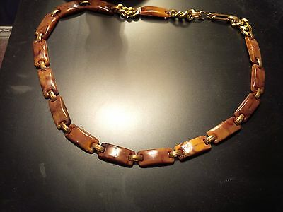 Ladies Two Tone Chain-link Belt/Necklace Looks Like Lucite/Bakelite Material