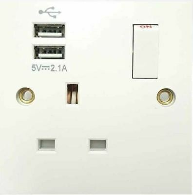 Single / Double Gang Wall Socket with Twin USB Charger Ports Plug Switched Plate
