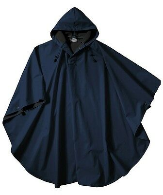 Rain Poncho Jacket Coat Weather Wind Waterproof Camping Hiking Navy Blue