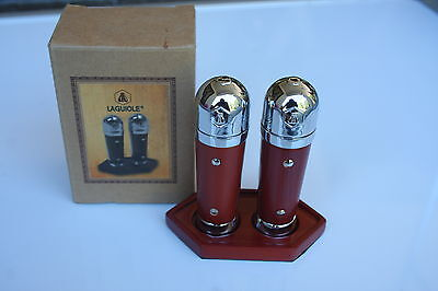 New Rare Laguoile Mini Pepper Salt Shaker Set With Stand