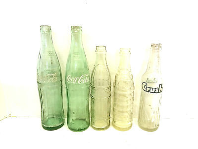 5 Vintage Soda Pop BOTTLE lot Cola / Crush / Nehi 10-16oz