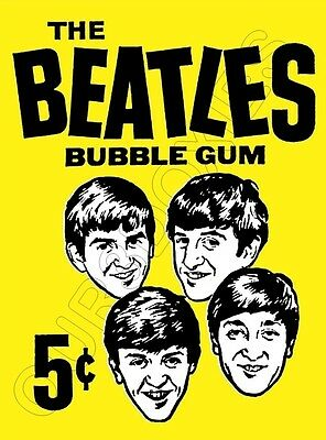 1964 Beatles Bubble Gum Cards Wax Pack Wrapper Store Counter Standup Sign Repro