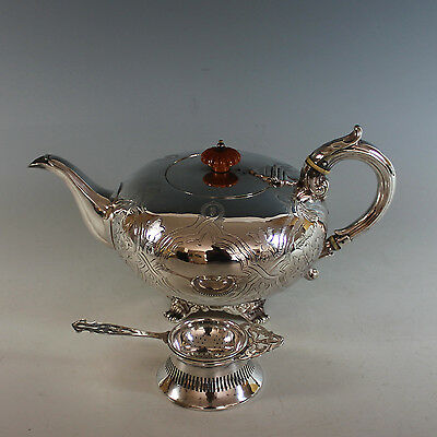 Victorian Silver Plate Teapot with Strainer Silverplate