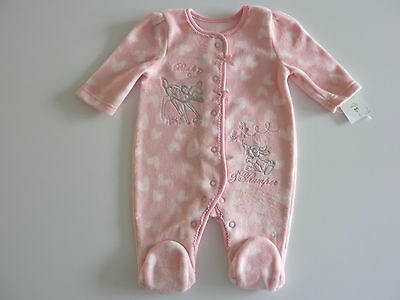 Disney BAMBI Gorgeous Little Fleecy Pink Sleepsuit NWT