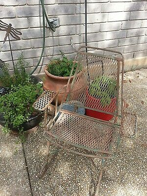 Antique Vintage Wrought Iron Metal Children's Rocking Chair Heavy Lots Of Patina