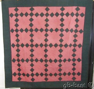 c 18Beautiful! 1880/90s Irish Chain Antique Quilt GREEN Double Pink GIFT QUALITY