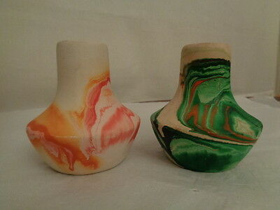 NEMADJI POTTERY small vases 2 in lot made in USA crocks Indian head logo