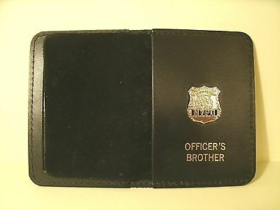 NYPD Style Officer's Brother Courtsey Mini Badge Wallet W/Mini Badge Gold Print