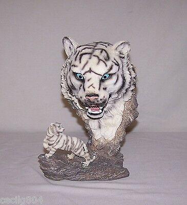 White Tiger On Rock With Tiger Bust Above Figurine