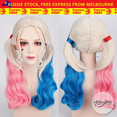 Harley Quinn Full Wig Suicide Squad Pig Tails Fancy Dress Cosplay Costume Party
