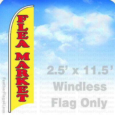 2.5x11.5 WINDLESS Swooper Feather Flag Banner Sign - FLEA MARKET yb