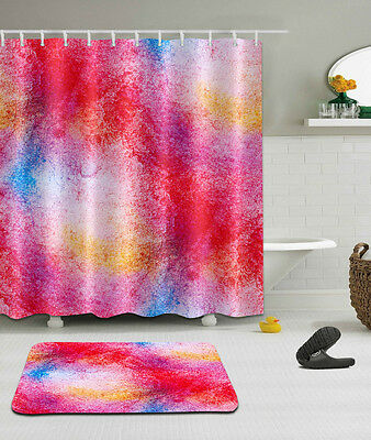 Abstract Colors Waterproof Polyester Fabric Shower Curtain Bath Mat Set YL2351