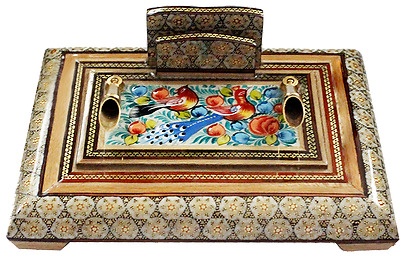 Persian Handcrafted Wooden Inlaid Khatam Marquetry Pen Holder 7.5 X 5.5 In