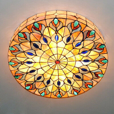 Retro 4-Light Tiffany Style Stained Glass Peacock Big Ceiling Light Lamp Fixture