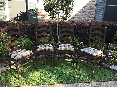Vintage High Back Ladder Back Dining Chairs refinished to original