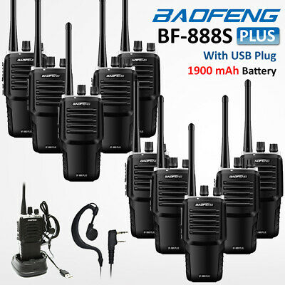 10x Baofeng BF-888S 2-Way Ham Radio UHF 400-470MHZ Walkie Talkie 16CH +USB Cable