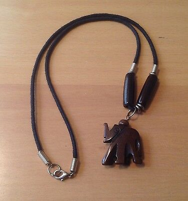 Vintage Elephant Pendant Necklace Carved Wood  Jewelry