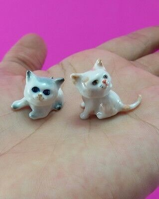 Miniature Adorable Cat Couple Ceramic Figurine Gift Collectible Handmade Cats