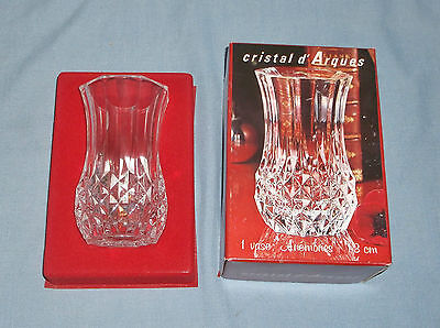 """Cristal d' Arques Boxed 5"""" Flower Vase Clear Genuine Lead Crystal w/ Sticker"""