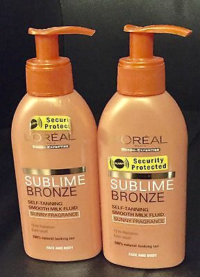 2X Loreal Sublime Bronze Fluid Milk  Self Tanning Face And Body 2X 150Ml