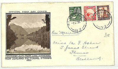 AB58 1935 NEW ZEALAND FDC Illustrated Official First Day Cover {samwells-covers}