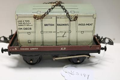 Hornby  O Gauge  Insul  Meat Container On Xp Wagon  Very Good   Ks197