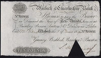 1894 WISBECH & LINCOLNSHIRE BANK £10 BANKNOTE * N 8866 * gEF * Outing 2382aa *