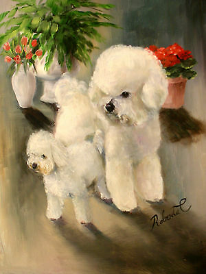 Bichon Frise   dog art print matted