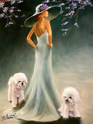 Bichon Frise with lady  dog art print matted
