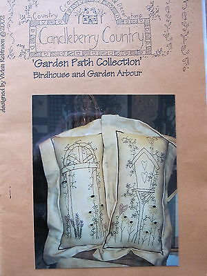 """ Birdhouse & Garden Arbour "" Stitchery Pattern by Candleberry Country"