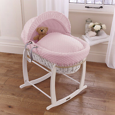 New Clair De Lune Pink Dimple Padded White Wicker Baby Moses Basket & Stand