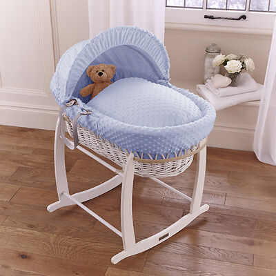 New Clair De Lune Blue Dimple Padded White Wicker Baby Moses Basket & Stand
