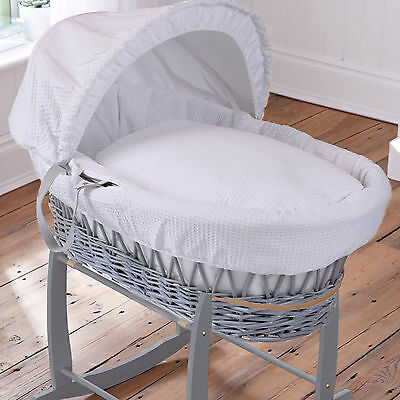 Clair De Lune Deluxe Padded Grey Wicker Waffle White Moses Basket With Mattress