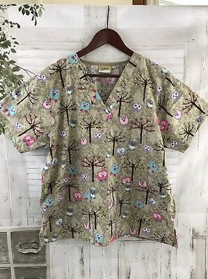 Tafford Women's Scrub Top V-Neck Owl Print 2 Pocket Nurse Uniform Shirt Size M