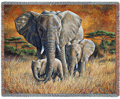 """Mother ELEPHANT & BABIES """"LOVING MOTHER"""" TAPESTRY THROW AFGHAN BLANKET 70"""" x 53"""""""